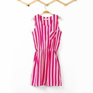 Sleeveless Striped A-line Dress