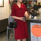 Frilled Trim Short Sleeve Chiffon Dress