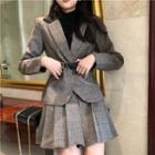 Plaid Blazer / Mini Plaid Pleated A-line Skirt