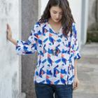 Long Sleeve Patterned Frog-buttoned Blouse Orange & Blue & White - One Size