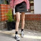 Inset Short Belted A-line Miniskirt