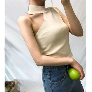 Sleeveless Asymmetric Knit Top
