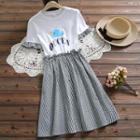 Short-sleeve Cartoon Print A-line Gingham Dress