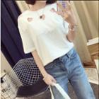 Cut Out Plain T-shirt