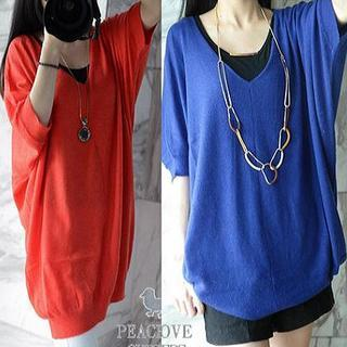 Elbow-sleeve V-neck Knit Top