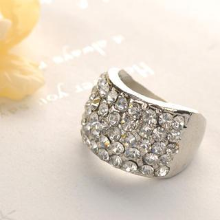 Rhinestone Ring  Silver - One Size