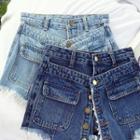 Mock Two-piece Single-breasted High-waist Denim Shorts