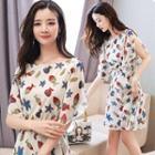Sleeve-slit Patterned Chiffon Dress