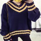 V-neck Striped Trim Sweater
