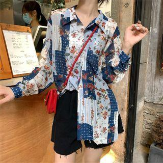 Long-sleeve Color Block Floral Chiffon Shirt As Shown In Figure - One Size