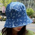 Moon Print Denim Bucket Hat Blue - M