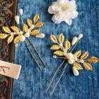 Beaded Leaf Hair Pin 1pc - Yellow & White - One Size