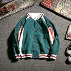 Color Block Lettering Embroidered Buttoned Baseball Jacket