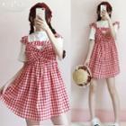 Sleeveless Frill-trim Plaid Mini Dress
