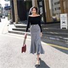 Button-front Ruffle-hem Maxi Skirt