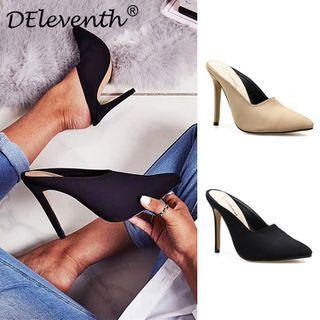 Plain Stiletto Heel Mules