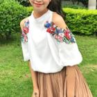 Open Shoulder Embroidered Chiffon Top