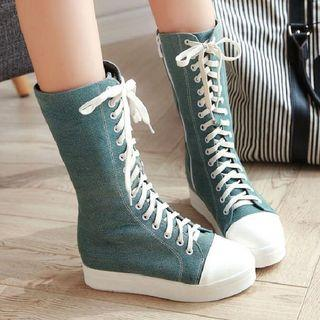 Platform Lace-up Tall Boots