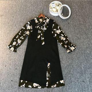 Set: Sleeveless Knit Dress + Floral Chiffon Dress