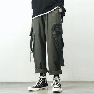 High-waist Buckled Cargo Pants