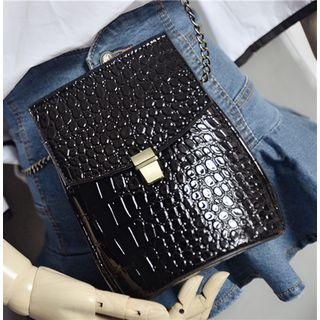 Faux Croc Grain Leather Crossbody Bag