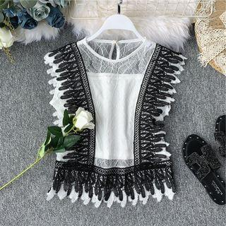 Color-block Lace Sleeveless Top