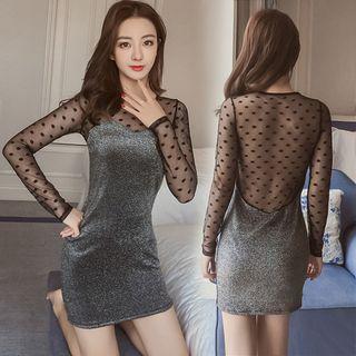 Sheer Open Back Mini Sheath Night Dress/ Crotchless Tights/ Set