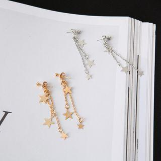 Alloy Star Fringed Earring Gold - One Size