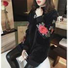 Floral Embroidered Long Pullover