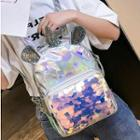 Unicorn Hologram Lightweight Sequins Zip Backpack Silver - One Size