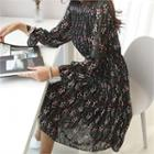 Crinkled Patterned Midi Chiffon Dress