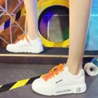 Faux Leather Contrast Shoelace Sneakers
