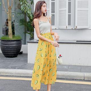 Avocado Print Midi A-line Skirt