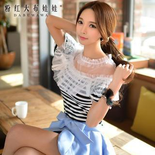 Mesh-panel Striped Top