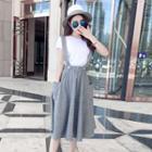Striped Suspender Midi Skirt