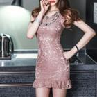 Sleeveless Frilled Lace Sheath Dress