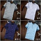 Printed Stand Collar Short Sleeve Polo Shirt