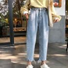 Plain Cropped Denim Harem Pants