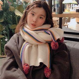 Knit Scarf With Pom Pom Off-white - One Size