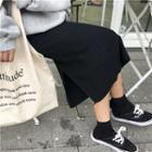 Ribbed Slit-hem Knit Skirt Black - One Size