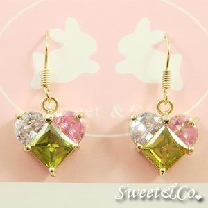 Austrian Crystal Heart Gold Earrings