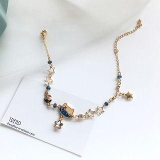 Alloy Cat & Star Bracelet 1 Piece - Bracelet - Blue & Gold - One Size