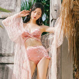 Set: Velvet Bikini + Long-sleeve Cover-up