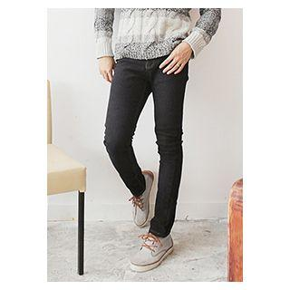 Stitched Fleece-lined Slim-fit Jeans