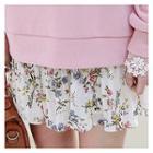 Floral Pattern Pleated Chiffon Mini Skirt
