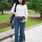 Straight-cut Cropped Jeans