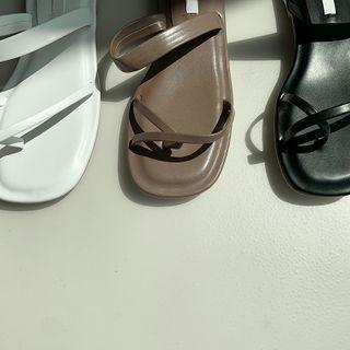 Strappy Pleather Flip-flops