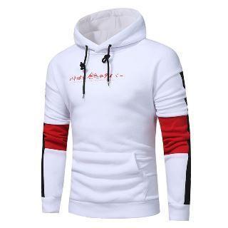 Color Block Printed Hooded Sweatshirt