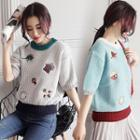 Short-sleeve Embrodiered Knit Top