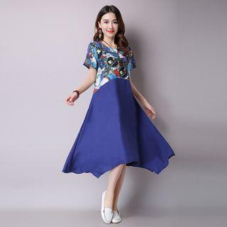 Printed Panel Short Sleeve Midi Dress